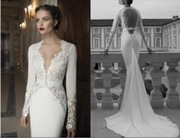 Cheap New 2015 Long Sleeve V Neck Zuhair Murad Mermaid Wedding Dress Chiffon Lace Backless Court Train Bridal Gowns