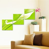 Wholesale Hot Sell Piece Wall Art Green Background together cute white flower Painting On Canvas Home Decor Modern Picture
