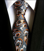 Wholesale Paisley Gray Orange Silver Mens Tie Brand Silk New Jacquard Woven Classic Necktie