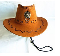 Wholesale 2015 Hot Top Super cool USA Cowboy Hat Hard Cowboy Cap mixed Hollywood Style Party Costume Sun Visor Knight Chin Cord wide Brim hats Bucket