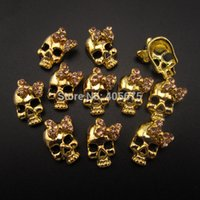 art supplies case - Nails Tools Rhinestones Decorations MNS671G Gold bows Skull d nail jewelry charms to decorate phone cases d nail art supplies