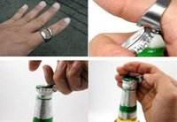 Wholesale 10Pcs Brand New Stainless Steel Finger Ring Bottle Opener Bar Beer tools black silver