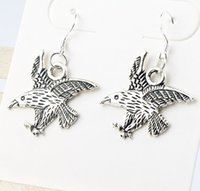 animal predator - 2016 HOT Silver Fish Ear Hook x27mm Tibetan Silver Eagle Predator Subducted Charm Pendant Earrings E109