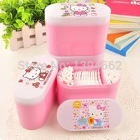 Wholesale 2014 Hot Hello Kitty Make up Cotton box Swab box to Receive a box to Send cotton and Cotton swabs