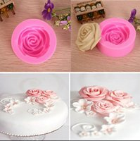 Wholesale 3D Rose Flower Decorating Tools Cutter Mold Sugarcraft Fondant Cake Baking Maker
