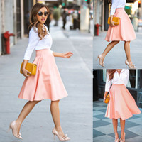 pleated skirt - Women Short Stretch high Waist Skirt Plain Skater Flared Pleated Mini Dress Pink