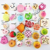 Wholesale Mini Random Squishy Soft Panda Bread Donut Buns Macaroon Phone Straps Key Chians