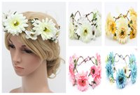 Wholesale 200PCS Wedding Bridal Wreath Colors Women Summer Beach Floral Headwear Photography Props Fashion Hair Accessories Free DHL Shipping
