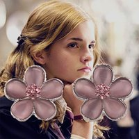 Wholesale 2015 New Hot Selling Harry Potter Hermione Crystal Party Earrings Pink Flower Shaped Earrings High Quality Jewelry For women best Gifts