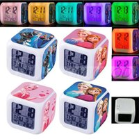 Wholesale 20pcs Free Shpping DHL New Fashion LED Colors Change Digital Alarm Clock Froze Anna and Elsa Night Colorful Glowing Clock