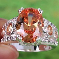 Wholesale Cheap In Stock Real Image Oval Cut Morganite White Topaz Gemstone Ring Silver Rings Size Crystal For Prom Wedding Ring A0043