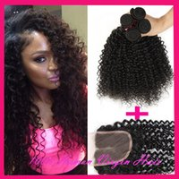 brazilian curly hair - 7A Brazilian Curly Virgin Hair Bundles With Lace Closure Free Or Middle Part Brazilian Kinky Curly Virgin Hair Brazilian Curly Human Hair