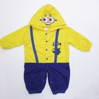 Cheap baby minion rompers costume baby cosplay romper 2015 boys baby girl clothes climb rompers long sleeve despicable me rompers in stock