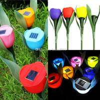 Cheap hot sale Outdoor Garden Light Solar Tulip flower light Powered LED Lawn Lamps Flower Lamp Free shipping