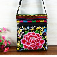 Women hmong - HOT Selling Original Hmong double sided peony embroidered canvas Shoulder bags Retro Black Double Zipper small Cross body bags