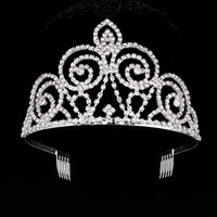 Wholesale 10Pcs Crystal Large Crown Tiara Pageant Sliver Plated Hair Combs For Women Wedding Bridal Accessories YC