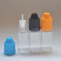 Cheap E Liquid Bottle Square Shape 10ml PET Dropper Bottles with Child Proof Bottle Caps for E-liquid E-juice Fedex Free Shipping
