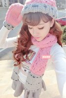 Wholesale winter hat scarfs and glove set for women europe warm suit girls wool hats thicken spell color designer scarves ladies scarf brand