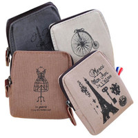 Wholesale Retro Paris Memory Coin Purses Canvas Square Zero Wallet Cute Key Coin Purse Key Holder Best Gift for Friends