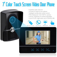 Wholesale 7 Inch TFT LCD Monitor TVL Camera Touch Key Night Visual Color Video Door phone Doorbell intercom Home Security System