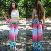Wholesale New Hot Womens Hippie Wide Leg Floral Print Palazzo Pants Boho Flare Long Yoga Trousers