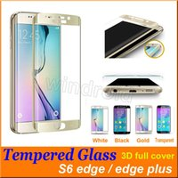 Wholesale Galaxy S7 S6 edge Full Screen Protector Tempered Glass S6 edge Plus Cover Whole Screen Curve Screen Protector With Retail Package