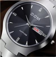 Wholesale Mens Luxury Rose Gold Watch DOM Sapphire Quartz Stone Wrist Watches Rhinestone Calender week Hours For Man m Original Brand