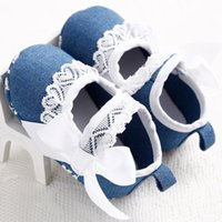 Wholesale 2015 New Baby First Walkers Ribbons Bowknot Lace Denim Shoes Flower Soft Sole Fashion Baby Cotton Sandals m