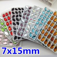 Wholesale More Colors Navette x15mm Foiled Sew on Crystal Fancy Stone Holes x7mm Marquise Horse eye Sewing Beads