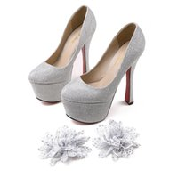 Cheap 6 inch High Heels Wedding Shoes Lady Formal Dress Flower Women's Shoes Fashion Dance Shoes Performances Prom Shoe DY292 Silver