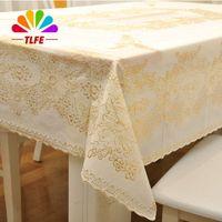 Wholesale TLFE Europe Plastic Gold Wedding Party Tablecloth Rectangular Table Cloth Cover Rectangular Home Garden toalhas de mesa ZB009