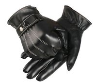 black coral - Men s Winter Warm Faux Leather Golves Coral Fleece Lined Gloves Touch Screen Black