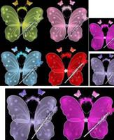 feather butterflies - Girl fairy angel butterfly wings feather sheer headband wands set christmas halloween princess children kids party COS performance props