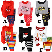 men cotton pajamas set - European Cartoon Spider Man Super Man Printed Cotton Children Pajamas Sets Spring Baby Boys Girls Home Wear T shirt Pants Set L2309