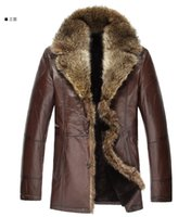 plus size dropship - 2014 winter mens leather fur coat sheepskin overcoat outerwear coats for men genuine leather Raccoon fur Plus size Dropship