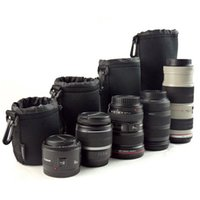 Wholesale 4 size Anti collision Neoprene DSLR Camera Drawstring Soft Lens Protection pouch Bag for Canon Nikon Sony