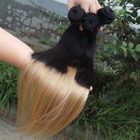 Cheap Two Tone Ombre Couleur 100% Extension de cheveux Humains Straight 6A Peruvian Virgin Hair Bundles Remy Weave Cheveux 3 / 4pcs Lot 8-30 pouces