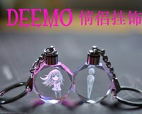 Wholesale New DEEMO LED colorful lights Crystal lovers ornaments Anime Keychain
