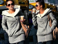 Wholesale Korea Women Hoodie Warm Outerwear coat hooded Zip Gray Black Fashion Special Agood