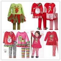 Wholesale New Year Christmas Cartoon Outfits Girls Christmas Clothing Sets Elk Snowman Santa Claus Long Sleeve T Shirt and Cotton Pants pc Set K5508