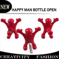soda bottle - Bar Cork Screw Red Fun Happy Man plastic Wine Beer Soda Bottle Novelty Opener Stopper Red Wine Bottle Opener Cork