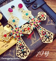 Wholesale colorful beads cross women s earings xcdxl