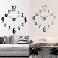 Wholesale Anself Silver Black Home Decoration DIY Fashion Mirror Effect Wall Clock Removable Acrylic Room Decals Set Decor H15391