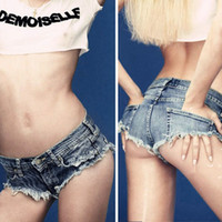 low rise jeans - Charming Sexy Low Rise Women Destroyed Wash Denim Jeans Micro Shorts Hot Pants Snow