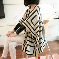 Wholesale Women s Geometric Pattern Double Faces Cardigan Coat Tops Knitted Sweater Outwear Shawl Cape SV009724