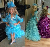 kids prom dresses - 2015 Hot High Low Pageant Dresses For Girls Blue Organza Lace Half Sleeve Kids Prom Dresses Custom Made Pageant Gowns