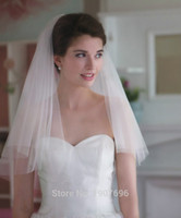 Wholesale 2016 In Stock Two Layers Short Soft Tulle Cut Edge Wedding Veils with Comb Cheap Bridal Accessories New Arrival