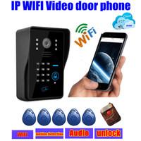 Wholesale wireless touch waterproof IP wifi Video door phones intercom door bell ip cloud p2p android ios APP w unlock alarm motion detection