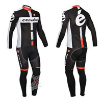 Wholesale cervelo team Autumn or winter fleece long sleeve jersey Cycling Suits Cycling Kit cycling jersey Bike Suit Road Cycling bib pants