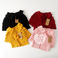 Wholesale DHL Free Kids Girls Knit puff cardigan baby girl Batwing poncho babies Fall Winter outwear knit sweaters children s clothes